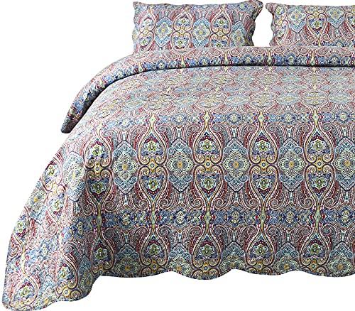 Qucover Paisley Tagesdecke Bettüberwurf mit Kissenbezug Bunt Böhmisch Steppdecke Rot Grün Weich Gesteppte Decke für Doppelbett Boho Stil Sofaüberwurf Bettüberwurf (230x250 cm, Paisley3)