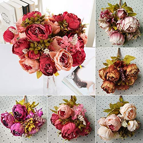 XdiseD9Xsmao 1 bos bloemen met 13 bloemkoppen van kunstzijde pioenroos bijna natuurlijk levendige bloem verfrissend beste decoratie voor de bruiloft Caffè