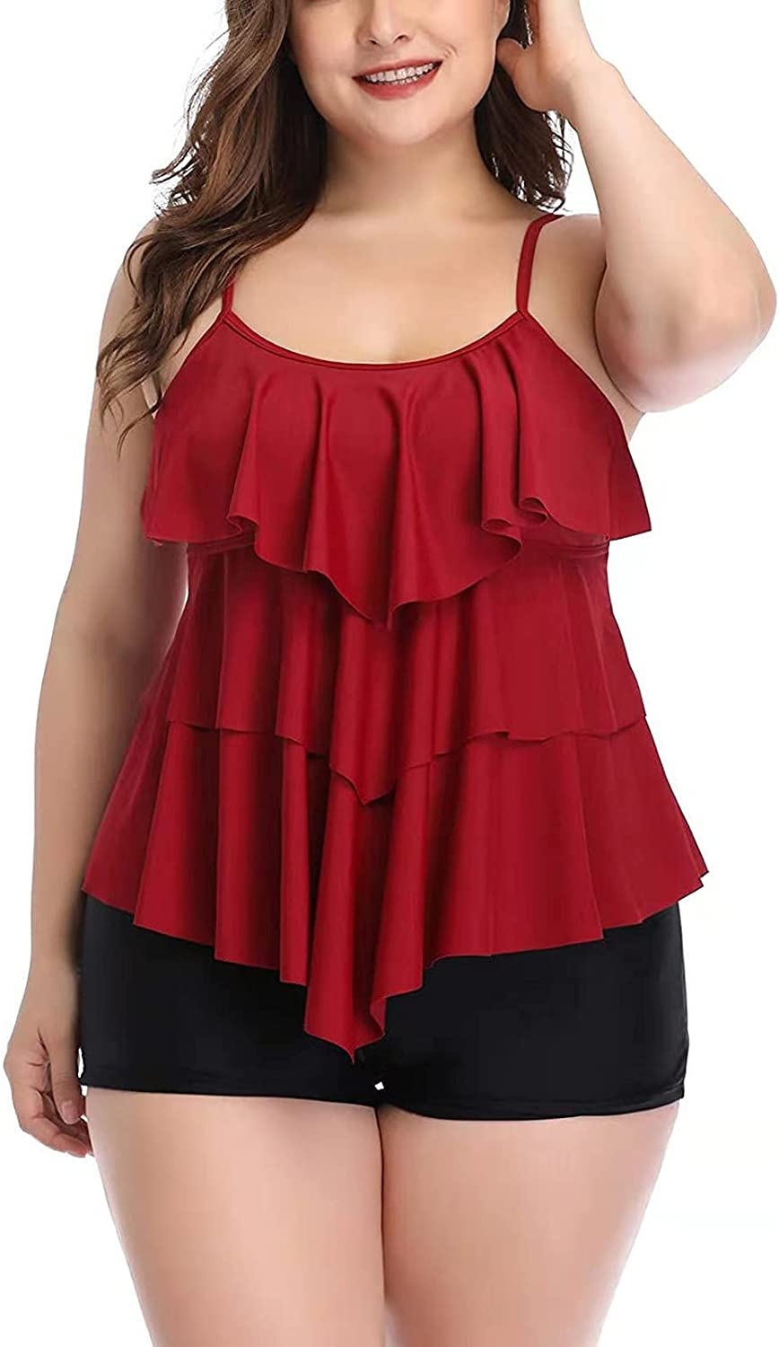 Layered Ruffle Tankini Swimsuits for Women Print Tummy Floral Co Virginia Beach Mall Industry No. 1