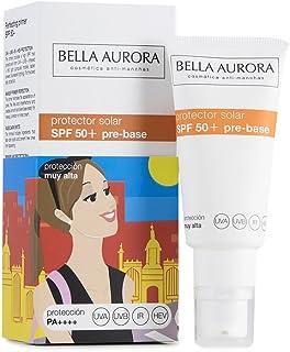Bella Aurora Crema Facial Protector Solar Pre-Base Maquillaje Perfeccionadora SPF 50+ Anti-Manchas Protege y Repara No Com...