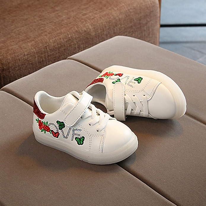 ALIKEEY Enfants B/éB/é Filles Gar/çOns Fleur Papillon LED Chaussures De Sport Lumineux L/éGers Lumineuse Sports Baskets pour Gar/çOn Et Fille Chaussure Course Sneakers Enfant Scolaire