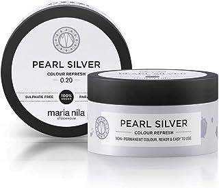Maria Nila Colour Refresh Pearl Silver 100 ml - En Vårdande Färgbomb som Innehåller Tillfälliga Färgpigment som Snabbt Frä...