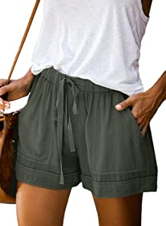 Womens Comfy Drawstring Casual Elastic Waist Pocketed...