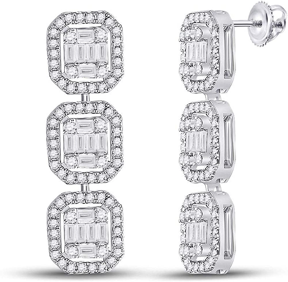 14kt White Chicago Mall Gold Baguette Diamond Ranking TOP4 1-5 8 Dangle Earrings Cttw
