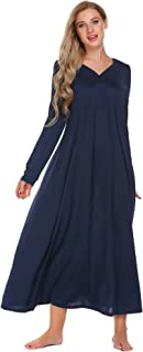 Ekouaer Sleepwear Long Sleeve Nightgown Soft Nightshirt Button Front Pajama Dress Plus Size Loungewear for Women