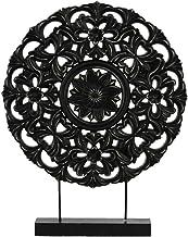Urban Trends Wood Buddhist Dharmachakra Wheel Ornament on Stand Matte Finish Black, Black