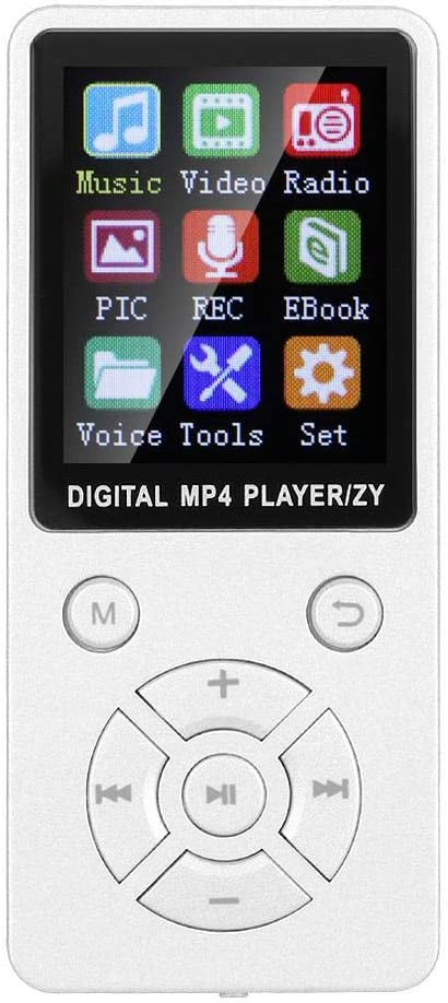 for Students Eight-Diagram Tactical Buttons for Music Lovers White Music Player Supports 32G Memory Card MP3 Player in Matte Material