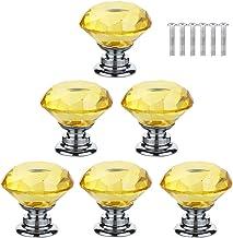 XIZONLIN 6 Stuks Kristallen Ladeknoppen Geel Diamanten Kristalglas Handvat voor Kastdeur Kastdecoratie Thuis Slaapkamer Ke...