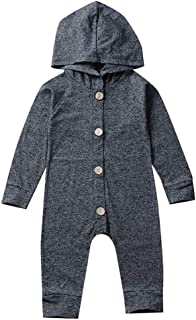 Newborn Baby Boy Long Sleeve Hoodies Button Down Hooded Romper Onesie Jumpsuit Playsuit Top Outfits Clothes