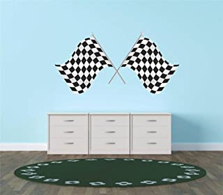 Design with Vinyl Hope 79-218 As Seen Decor Item 1St Place Checkered Flag Race Car Speedway Track Boy Girl Children Kid Living Room Bedroom, 12-Inch x 24-Inch