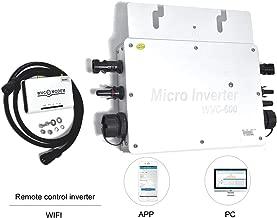 PIKASOLA Intelligent 600W Waterproof IP65 Micro Solar Inverter, 22-50VDC Wide Input Voltage to auto 110/230VAC with 433MHZ Communication APP 30V/36V Solar Panels,MPPT Grid Tie Inverter
