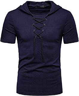 Howely Men's Hoodie Short Sleeve Hip hop Lace-Up Workout Tops T-Shirts