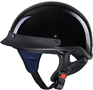 AHR Motorcycle Half Face Helmet DOT Approved Bike Cruiser Chopper High Gloss Black L