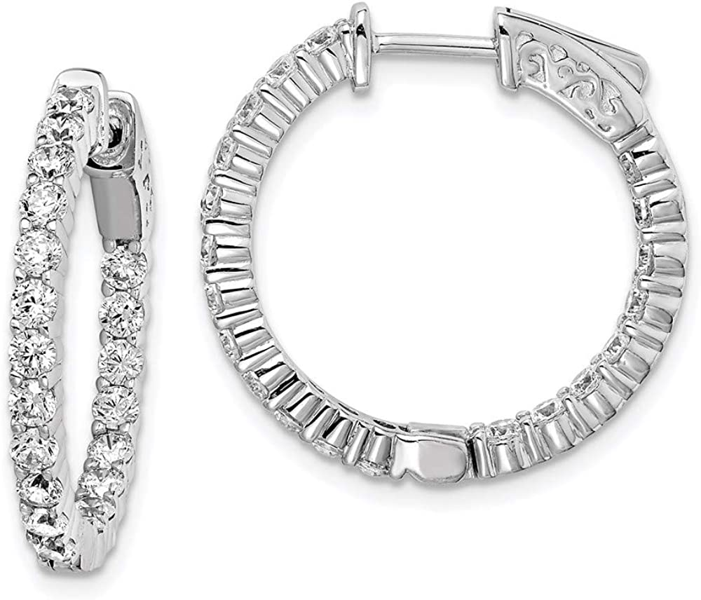 Sterling Memphis Mall Silver Cubic Zirconia 40 Stones Super-cheap Round Out in E and Hoop