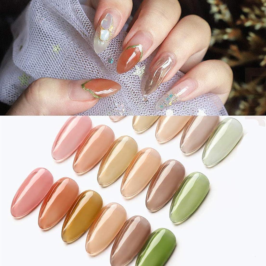 消費者ポット良性ジェルネイルカラークリアカラージェル 琥珀カラージェル ネイルアートネイルマニキュアソークオフ 8gケース入り6色から選び (2)