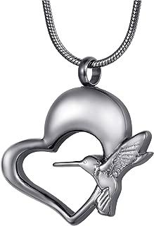 FCZDQ Ashes Necklace Crystal Owl/Hummingbird Urn Pendant Keepsake Memorial Cremation Jewelry