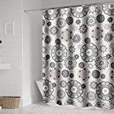 Tian Home Fabric Shower Curtain with 12 Hooks, Waterproof and Bottom's Weighted (Kaleidoscope)