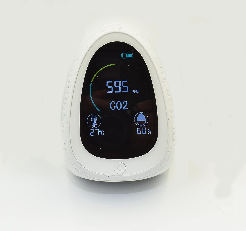 AK Tech Medidor WIFI de CO2, Temperatura y Humedad. Alarma, Recargable, Ideal para comercios, hoteles y bares. Controle la calidad del aire en su hogar o establecimiento