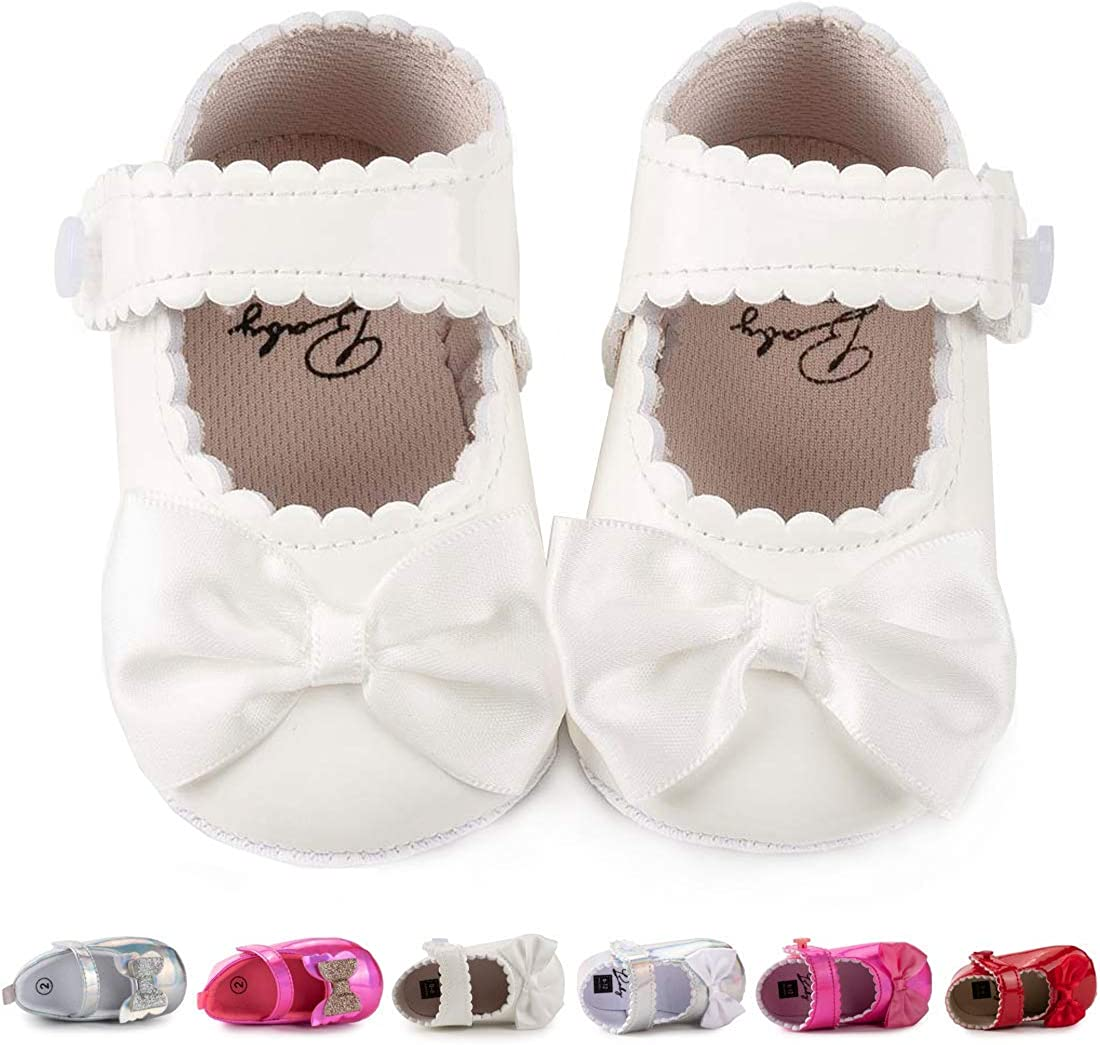   Morbido Infant Baby Girls Mary Jane Flats Soft Sole Non-Slip Bow Knot Princess Wedding Dress Shoes Toddler Crib Shoes   Mary Jane
