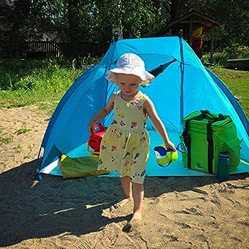 Abri de plage léger Helios Air 850 de chez outdoorer, indice UV 80, compact, mini-format pour les voyages, tente de soleil avec des arceaux en aluminium et aération