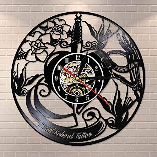 UIOLK Estudio de Tatuajes Reloj de Pared con Disco de Vinilo Logotipo Reloj Decorativo de Tienda de Tatuajes