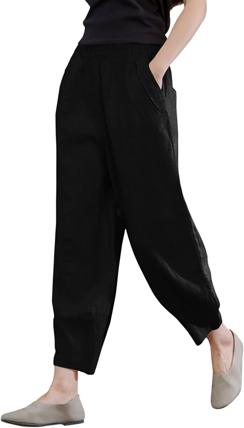IXIMO Women's 100% Linen Pants Relax Fit Lantern Cropped TaperedPants Trousers with Elastic Waist