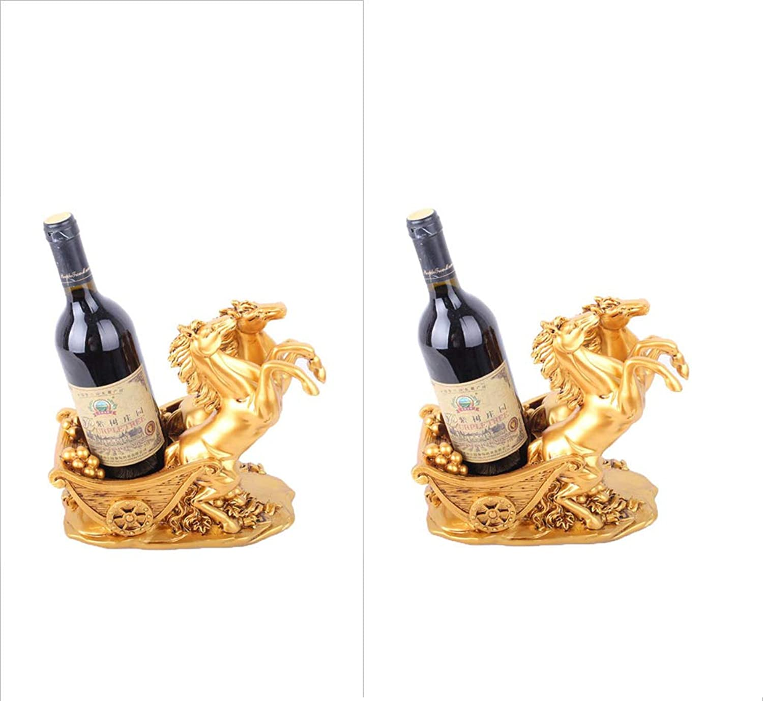 BTPDIAN Double Horse car Wine Rack Decoration Home Living Room Wine Cabinet Decoration Two Sets (color   2)