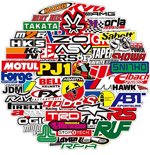 BAIMENG JDM Racing Motocicleta Logo Pegatinas y calcomanía Colorido Casco de Dibujos...