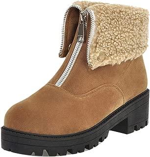 ELEEMEE Women Casual Block Heel Collar Boots Platform