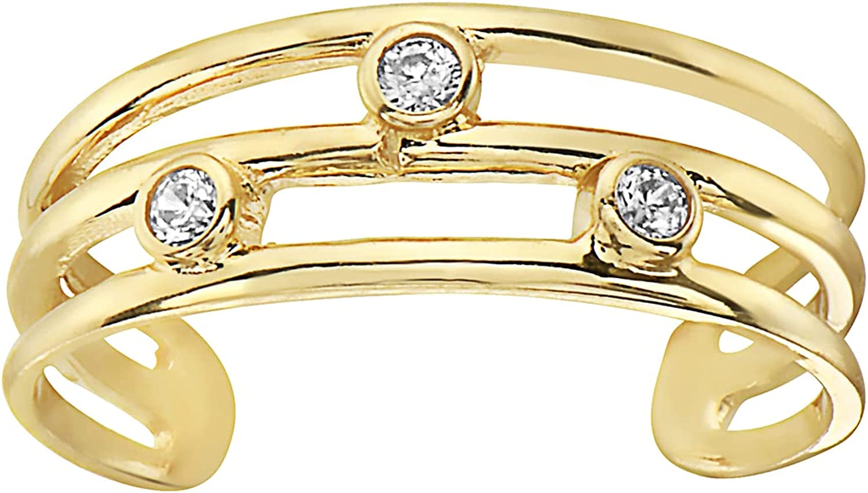 14K Yellow Gold Three Row Cz Toe Ring Body Art Adjustable