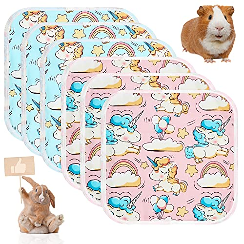 Jetec 6 Pieces Guinea Pig Cage Liners Washable and Reusable Guinea Pig Pee Pads Anti-Slip and Highly Absorbent Guinea Pig Bedding Waterproof Pet Training Pads for Small Animals (Unicorn)