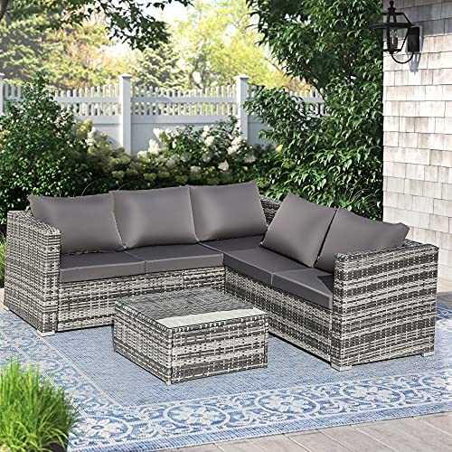 BTM Rattan Garden Furniture Garden Set 6 Corner Sofa Seater Outdoor Furniture With Coffee Table (Grey)