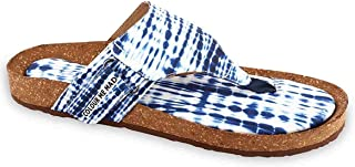 Colour Me Mad Blue Tie-Dye Design for A Classic Look, Printed, Natural Cork, Washable, All Weather, Vegan, Made in India, PETA Certified, Women Sandals