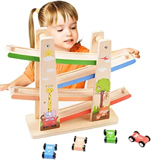 Kasstino 4 Layers Ramp Racer Click Clack Car Race Track Wooden Toy for Kids Child Gift (B)
