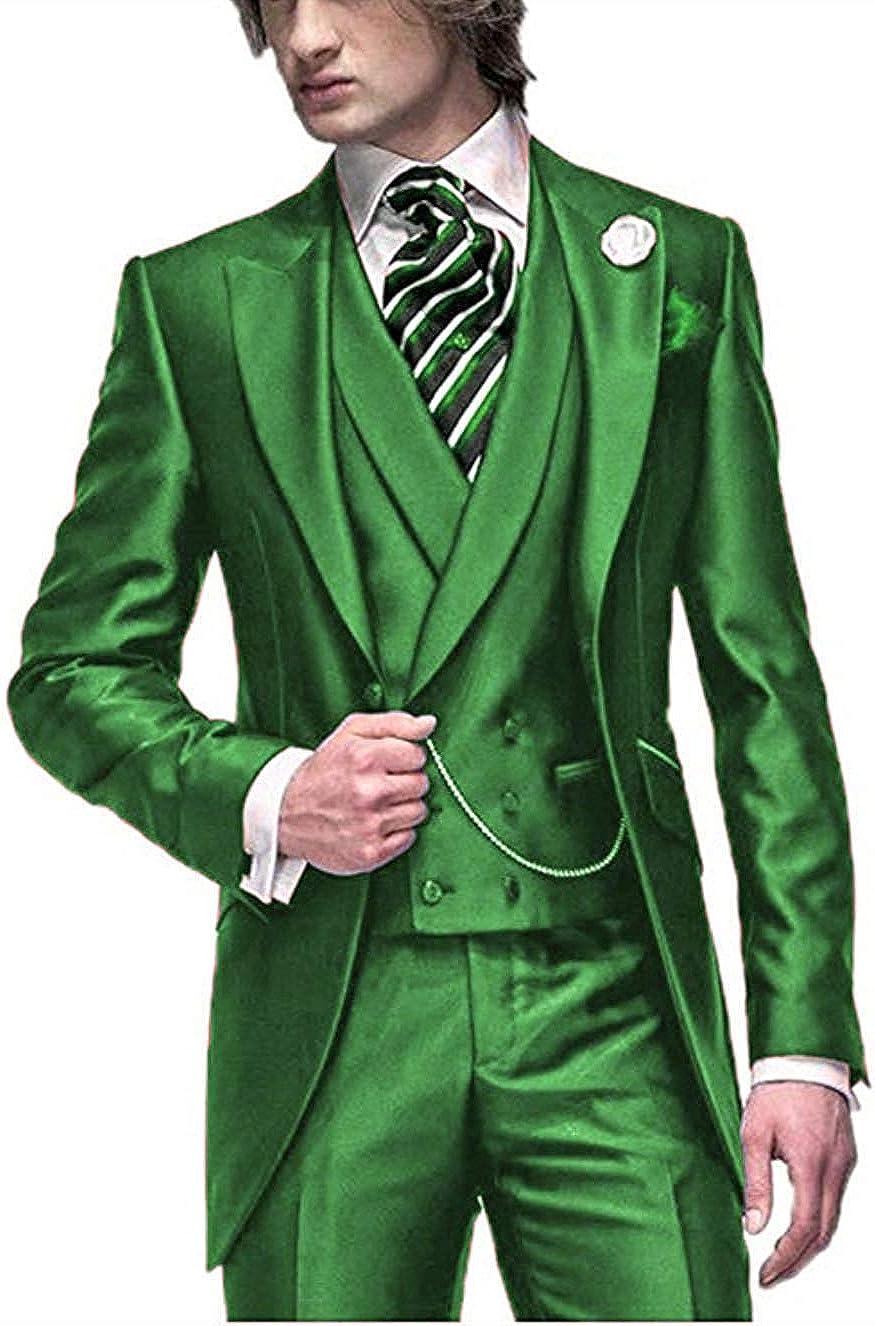Men's 3 Pieces Suit Set Slim Fit Blazer Jacket Tux Vest & Trousers Long Tail Groom Tuxedos Tailcoat