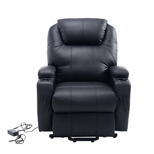 Homcom Fauteuil Luxe de Relaxation électrique sur roulettes Noir