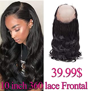 Brazilian Hair 360 Closure Body Wave 10 inch 360 Frontal 100% Human Hair Body Wave 360 Lace Frontal Closure with Baby Hair Pre Plucked 360 Frontal Body Wave