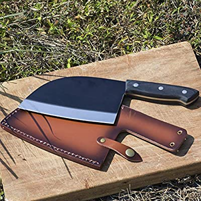 Professional Butcher Knife, Damascus Chef Kitchen Knives for Cooking, Outdoor Cooking Meat Knife with Leather Sheath