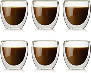 Lot de 6 Tasses à Café Expresso, Tasse à double paroi ,Tasse à Café Transparente à Double Isolation, Adaptée Au Thé Chaud,...