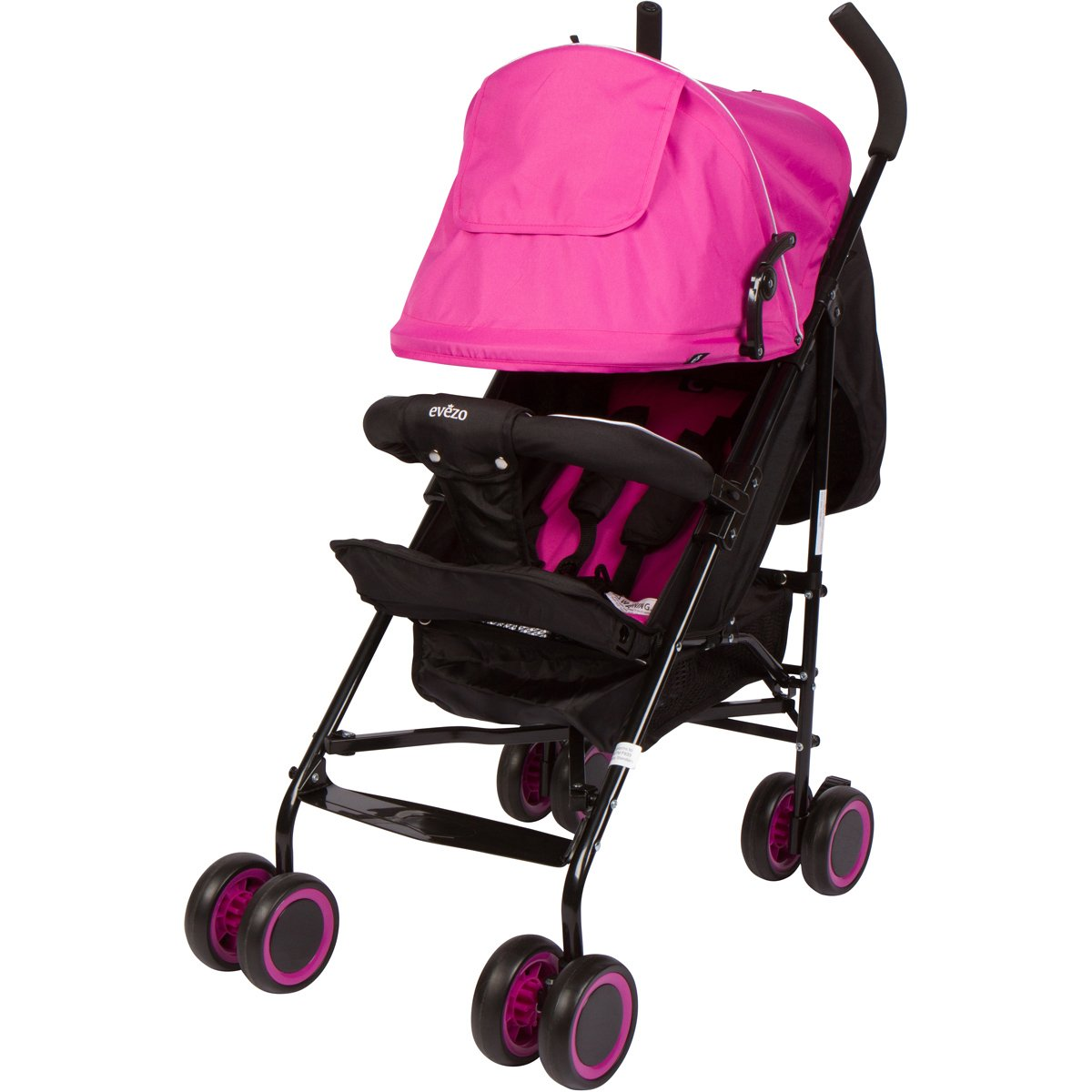 Evezo 2141A Full-Size Ultra Lightweight Umbrella Stroller, Reclining Seat, 5-Point Safety Harness, Canopy, Storage Bin (Hot Pink), 214-1A