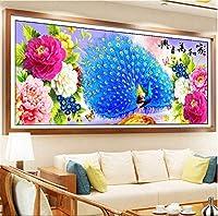 DIY 5Dダイヤモンド絵画キット、DIYラインストーン孔雀の写真、手作りの接着剤の写真、刺繡絵画、デジタルセット、壁の装飾、フルドリル(B、120 x 50 cm)