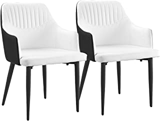 DIVANO ROMA FURNITURE Set of 2 Dining Chairs Faux Leather Kitchen Chairs with Arm Rests for Dining Room (Black/White)