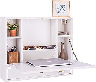 COSTWAY Mesa Plegable de Pared para Ordenador Escritorio de Madera con Compartimientos y Cajón para Hogar (Blanco)