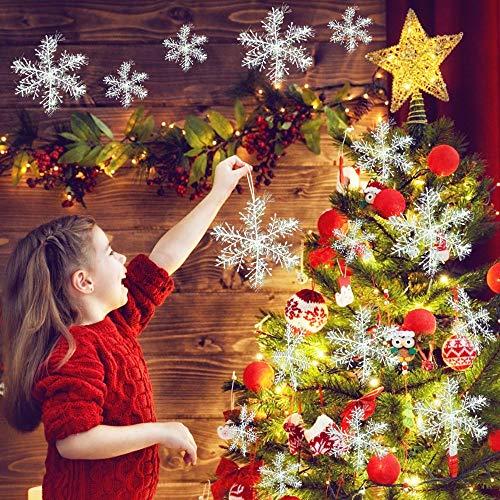 IGRMVIN 42 Stücke Weihnachten Schneeflocken Anhänger 11/15/18/22/28cm Glitter Schneeflocken Deko Hängende Weihnachtsdeko Weiß für Weihnachten Weihnachtsdeko Fenster weihnachtsschmuck Winterdeko