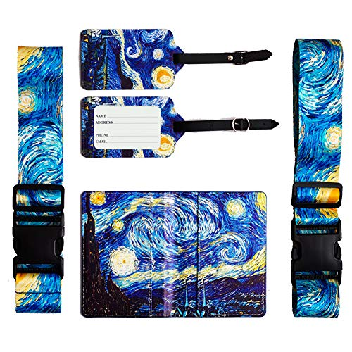 LIZIMANDU Luggage Sets,2 Packs Luggage Straps & 2 Packs Luggage Tags & 1 Pack Passport Holder,Travel Baggage Bag Suitcases Accessories(5-Starry Sky)
