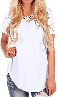 Women's Short Sleeve V-Neck Loose Casual Tee T-Shirt Tops