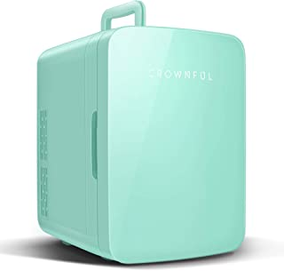 Crownful Multifunctional Mini Fridge, 10 Liter/12 Can Portable Cooler and Warmer Personal Fridge for Skin Care, Food, Medications, Plugs for Home Outlet & 12V Car Charger Included, ETL Listed