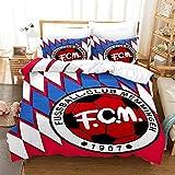 AINYD con el Logo del Club de fútbol Muy Suave Transpirable Microfibra Juegos de Fundas para edredon(180x200cm), Funda nórdica con Cremallera, Respirable Almohada