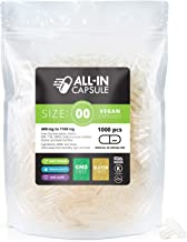 ALL-IN Capsule - 1000 Count Clear Empty Vegetarian Capsules Size 00 - Compatible with Capsule Filling Machine - Fillable with Powders of Your Choice