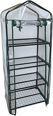 "ShelterLogic 23"" x 17"" x 57"" GrowIT 4-Tier Mini Grow House Outdoor or Backyard Easy Assembly Portable Greenhouse, Translucent"